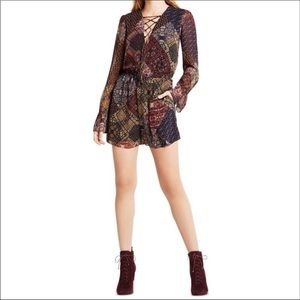 NWT bcbgeneration patchwork lace up romper